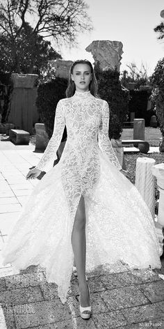 nurit hen 2016 long sleeves high neck aline wedding dress (lw14) mv slit elegatn