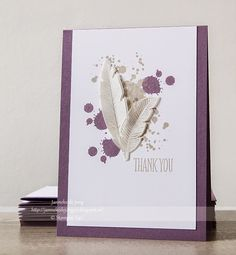 These feathers look real, but they are actually stamped and cut on vellum paper!  Plum is a great accent color on this handmade thank you card.