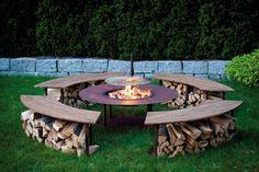 """Feuerstelle Outdoor Model """"Circle"""" Set mit Grill und 4 Bänken in Edelrost günstig und sicher online bestellen!"""
