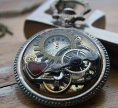 Steampunk mechanical Heart : Pocket Watch Necklace - Folksy | Craft Juice