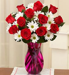 Red roses white daisy bouquet- pretty : ) my favorite flower + my grandma's