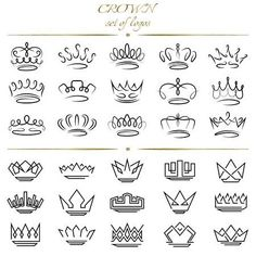 Lettering Fonts Discover Set of crowns in different styles. - Millions of Creative Stock Photos Vectors Videos and Music Files For Your Inspiration and Projects. Mini Tattoos, Body Art Tattoos, Small Tattoos, Tatoos, Rosary Tattoos, Bracelet Tattoos, Heart Tattoos, Small Tattoo Designs, Sleeve Tattoos