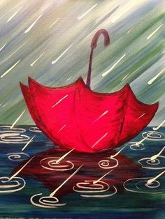 80 Easy Acrylic Canvas Painting Ideas for Beginners - Bilder Rain Painting, Easy Canvas Painting, Simple Acrylic Paintings, Spring Painting, Acrylic Canvas, Diy Canvas, Painting & Drawing, Umbrella Painting, Canvas Ideas