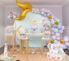 Mermaid Theme Party by Inspiring Krislaine Reusing ⠀ .⠀ Get Inspired and Make the Party SHOPFESTA ? 1st Birthday Parties, Birthday Party Decorations, Party Themes, Party Ideas, Baby Birthday Themes, Birthday Ideas, Girl Birthday, Balloon Decorations, Baby Shower Decorations