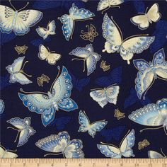 Imperial Collection Metallics Butterflies Indigo from @fabricdotcom  Designed by Studio RK for Robert Kaufman, this cotton print is perfect for quilting, apparel and home decor accents.  Colors include cream, shades of blue and metallic gold.