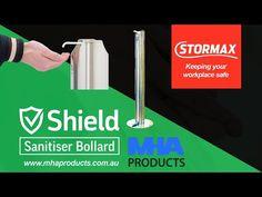 Stainless Steel Hand Sanitiser Bollard Stand - YouTube Hand Sanitizer Dispenser, Sheet Metal, Workplace, Hands, Stainless Steel, Industrial Design, Patterns, Bathroom, Face