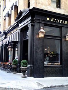 The black exterior of a restaurant, striped awnings wayfare tavern san francisco, san francisco Cafe Restaurant, Restaurant Design, Black Restaurant, Mein Café, San Francisco Travel Guide, San Francisco Shopping, San Francisco Restaurants, Black Exterior, Cafe Exterior