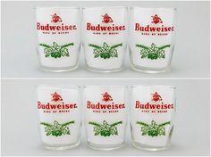 """1950's Vintage / Budweiser Beer Glass / Pilsner Glass / 4oz / 3-1/4"""" / Green Acorn Sprig / King of Beers / Anheuser Busch / Set of 6 #budweiser #BeerGlass #VintageBarDecor #PilsnerGlass #1960sVintage"""