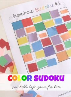 Rainbow Colors Sudoku Logic Game for Kids-- printable sudoku games included!