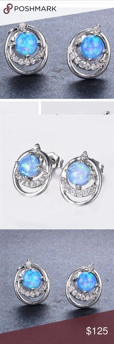 Blue fire opal with white topaz studs Blue fire opal and white topaz in a stamped 925 setting . Lab. White is shown only for measurements Jewelry Earrings
