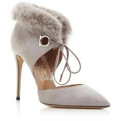 Salvatore Ferragamo Francesca Suede and Mink Fur Lace Up Pumps ($570) ❤ liked on Polyvore featuring shoes, pumps, scarp, gris, eyelets shoes, suede pumps, d'orsay shoes, shiny shoes and salvatore ferragamo