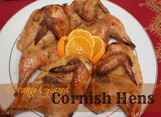 Orange Glazed Cornish Hens