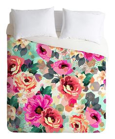 Take a look at this Pink & Teal Abstract Flowers Duvet Cover today!