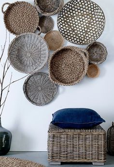 Gorgeous African baskets make a beautiful wall gallery @pattonmelo