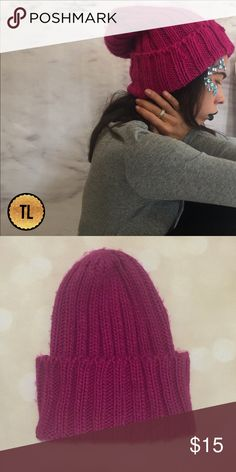 Cute Chunky heavy rib knit magenta beanie •brand new  •ships tomorrow •boutique / UNBRANDED   •no trades  •width: 9.5 stretching to 15 - full length 14 inches     Super stretchy - super farm and cozy - style it however you want by filing or unfolding to your taste 💕  Model: goguios in insta 📸 (account manager on @timelesslook) modeling Accessories Hats