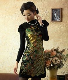 Rabbit Hair Decorate Vintage Gracefull Qipao Dresses 67db172b1a1c