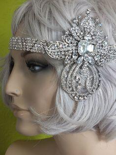 Flapper 1920s rhinestone headband great gatsby wedding headpiece by RetroVintageWeddings on Etsy https://www.etsy.com/listing/211844962/flapper-1920s-rhinestone-headband-great