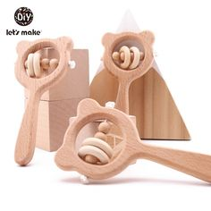 Wooden Baby Rattle Natural Beech Wood Hand Teething Beads Toy