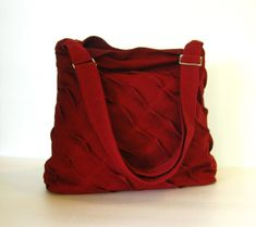 Sale - Deep Red Hemp/Cotton Messenger Bag, unique, diaper, tote, everyday bag, stylish, purse,  - Rebecca on Etsy, $39.00