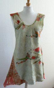 robe coquelicot feutre sur soie