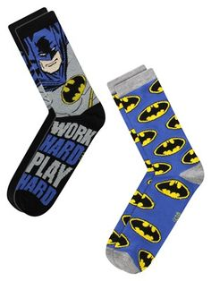 Work hard play hard, just like Batman! This 2 pack of men's socks are sure to make any guy feel as epic as Batman and as cool as Bruce Wayne. With an all over print of the classic Bat symbol on one pair, and a comic book style Batman on the other, these socks will make the perfect gift! Official merchandise.