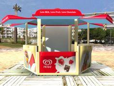 Imagen de los kioscos de Frigo para toda Europa. Cliente: Unilever