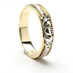 This is a truly beautiful handcrafted Claddagh wedding ring made in 14K yellow gold and featuring a white gold Claddagh design inset into it. To each side of the Claddagh is an accent diamond. This ring is the perfect wedding band for ladies or mens and will be hallmarked by the Dublin Assay Office. We have named this ring Caragh which is from the Irish word cara and means a friend. The men