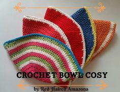 Crochet up this fast, easy cotton bowl cosy! Crochet Bowl, Crochet Geek, Crochet Gifts, Diy Crochet, Crochet Coaster, Easy Crochet Projects, Easy Crochet Patterns, Crochet Ideas, Craft Projects