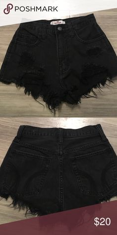 """High waisted hollister distressed jean shorts Black distressed jean shorts high waisted, great condition, just don't fit me anymore! Waist 24"""". Rise from top to bottom crotch seam-10.5"""". Hips- about 32"""" Hollister Shorts Jean Shorts"""