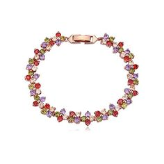 Christmas Gift Rose Gold MultiColor Crystal Stones Flower Bangle Bracelet *** See this great product.
