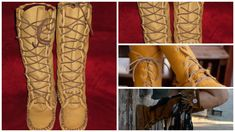 Size 11 Womans Moccasin Pattern, Knee High Boot by Laindias on Etsy