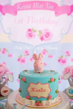 Cute cake at a Cath Kidston bunny birthday party! See more party ideas at CatchMyParty.com!