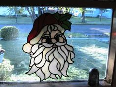 large Santa Claus stained glass Christmas suncatcher Panel ...