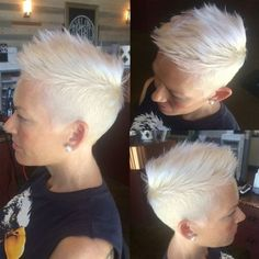 60 Cute Short Pixie Haircuts – Femininity and Practicality Short Spiky White Blonde Pixie Short Spiky Hairstyles, Short Pixie Haircuts, Short Hairstyles For Women, Hairstyles Haircuts, Cool Hairstyles, Haircut Short, Shaved Hairstyles, Blonde Pixie Hairstyles, Hairstyle Ideas
