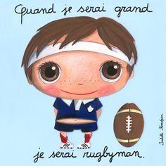 "Tableau d'Isabelle Kessedjian ""Quand je serai grand, je serai Rugbyman"" - Le Coin des Créateurs Maria Jose, Cuando Sea Grande, Exquisite Corpse, Belly Painting, Caillou, Collaborative Art, Baby Art, When I Grow Up, Cartoon Kids"