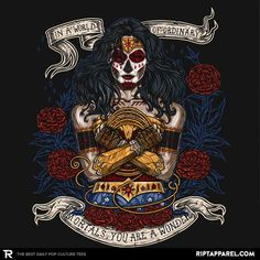 """Wonder Woman T-Shirt by onebluebird. """"Day of the Dead Wonder"""" is a Wonder Woman t-shirt in the style of a Day of the Dead sugar skull."""