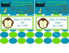 Blue and Green Monkey Candy Bar by KristysKuteKreations on Etsy, $7.00