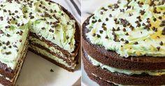 Vláčný čokoládový dort s mátovým krémem a kousky čokolády