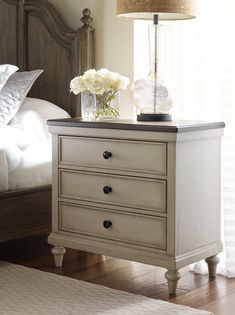 Brookhaven Nightstand - Vintage Linen with Dark Elm Top - by Legacy Classic Furniture Brown Nightstands, Dresser As Nightstand, Dressers, Table Furniture, Painted Furniture, Home Furniture, Furniture Cleaning, Furniture Storage, Bedroom Furniture Makeover