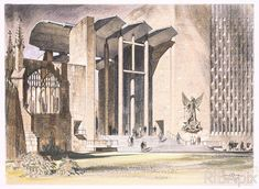 design for the porch of including a sketch of St Michael and Lucifer held in the wonderful Michael And Lucifer, Coventry Cathedral, St Michael, Middle Ages, Modern Architecture, Medieval, Porch, Cathedral Church, Explore