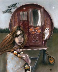 Guiding Star gypsy vardo caravan wagon tinker owl by MoonSpiralart