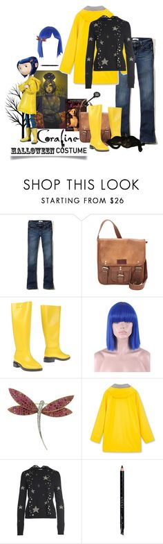 """Coraline Costume"" by cdshep ❤ liked on Polyvore featuring Hollister Co., SHARO, Melissa, WithChic, Van Cleef & Arpels, RED Valentino and Gucci"