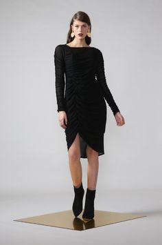 good omen dress / black by Moochi. Everyday luxury, from off-duty essentials to coveted designer pieces. Buy Now! Off Duty, Winter 2017, Dress Black, Black Suede, Winter Fashion, Sporty, Fabric, Sleeves, Sweaters