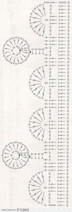 Crochet border diagram semi circles and whole circles Crochet Boarders, Crochet Lace Edging, Crochet Motifs, Crochet Diagram, Crochet Stitches Patterns, Crochet Chart, Crochet Designs, Crochet Doilies, Crochet Flowers