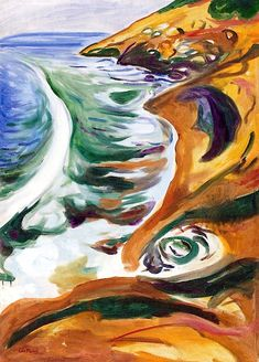 Waves Breaking on the Rocks Edvard Munch - 1916-1919
