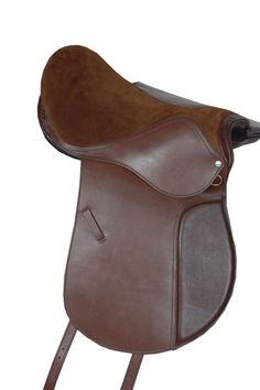 BROWN REAL LEATHER SUEDE RIDING ALL PURPOSE HORSE PONY SHOWING EQUESTRIAN SADDLE