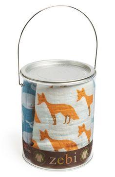 Zebi Baby 'Bucket of Burpies' Organic Cotton Muslin Burp Cloths (3-Pack)