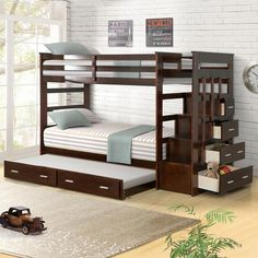 Harriet Bee Jeremias Twin Over Twin Bunk Bed with Trundle Bed Frame Color: Espresso Bunk Bed Rooms, Bunk Beds Boys, Bunk Bed Plans, Wood Bunk Beds, Modern Bunk Beds, Kid Beds, Adult Bunk Beds, Loft Beds, Modern Loft