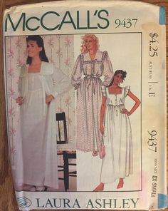 Vintage 9437 McCalls (1985)  Designer: Laura Ashley Size: Extra Small (6 to 8)  Pattern is complete with instructions. It is unused and factory folded. Excellent condition.  Envelope is clean, intact with clear graphics. It has light tanning, front and back. The front has a faint red spot on the bottom corner and you can see an even fainter red spot on the pattern, but there is not damage to the pattern. The envelope has storage wear and the flap has a crease on it. The bottom corner has an…