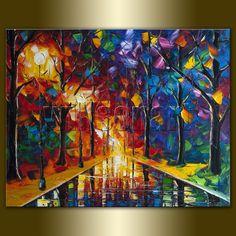 Original Textured Palette Knife Landscape Painting Oil on Canvas Contemporary Modern Art Rainy Night